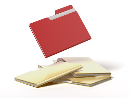 red folder among yellow isolated on a white background photo