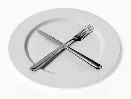 knife and fork on white plate  isolated on a white background Stock Photo - 22401734