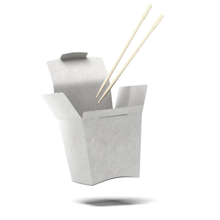 Chinese To-Go Box and Chopsticks  isolated on a white background photo