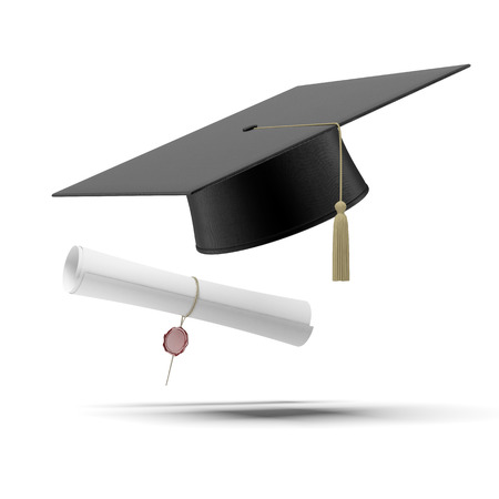 higher learning: Graduation hat and Diploma  isolated on a white background