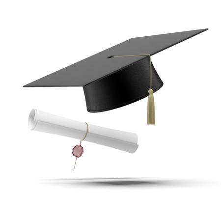 fondo de graduacion: Sombrero de graduación y diploma aislados en un fondo blanco