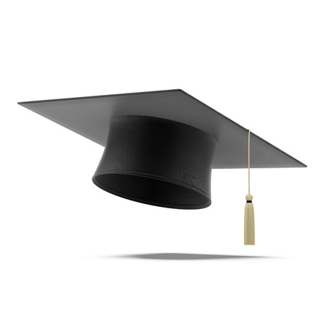 black cap: Grad hat  isolated on a white background Stock Photo