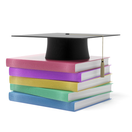 Grad hat with books isolated on a white background Stock Photo - 22401741