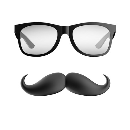 glasses and mustache isolated on a white background photo