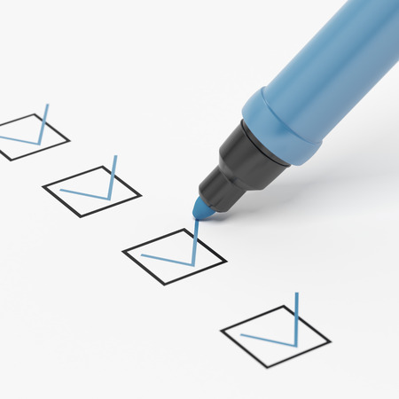 put tick: Blue Marker with Checkbox and Check.isolated on a white background Stock Photo