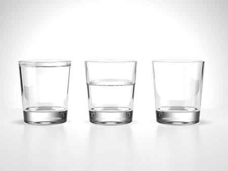 full,half  and empty water glasses isolated on a white background photo
