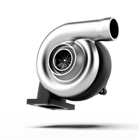 Metal Turbocharger isolated on a white background photo