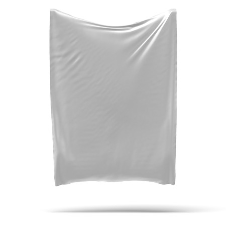 White banner with folds isolated on a white background Banco de Imagens