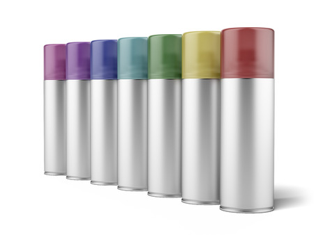aluminum spray cans  isolated on a white background photo