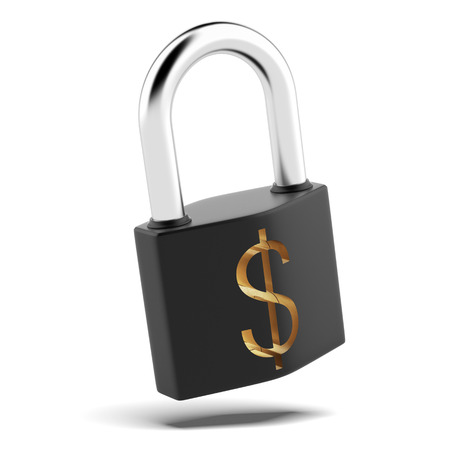 padlock with dollar sign isolated on a white background photo