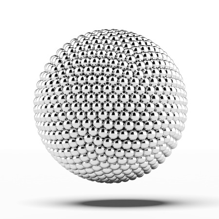 conundrum: ball of metal spheres isolated on a white background Stock Photo