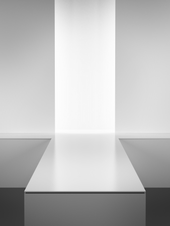 fashion catwalk: Empty white interior.