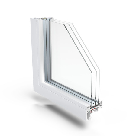 glass partition: Plastic Window profile  isolated on a white background