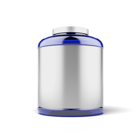 Big Jar for sport supplements  isolated on a white background photo