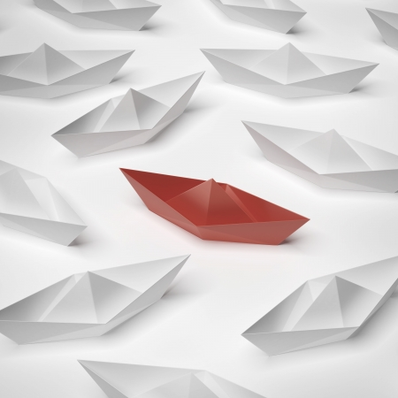 masses: red paper boat  isolated on a white background