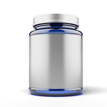 Small Jar for sport supplements  isolated on a white background photo