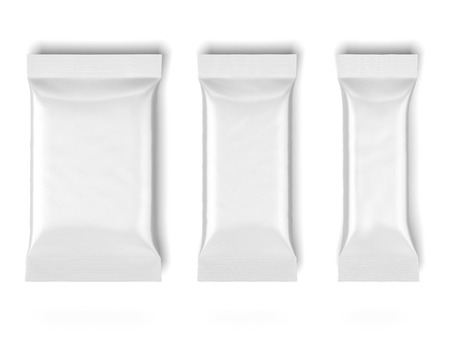 pouch: three White Blank Foil Packaging isolated on a white background