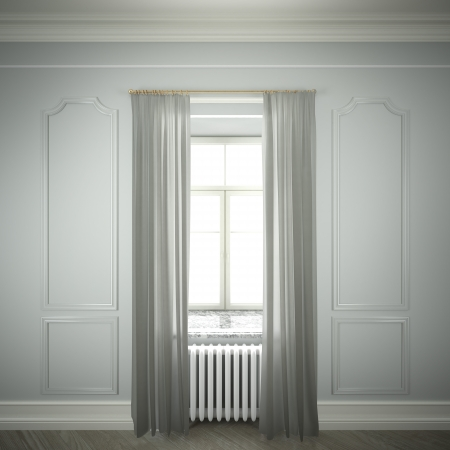 empty room with window and curtains Stock Photo - 22402244