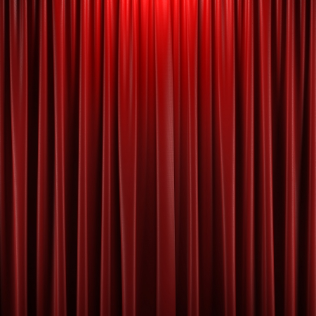 curtain theatre: Red closed curtain with light spots in a theater Stock Photo