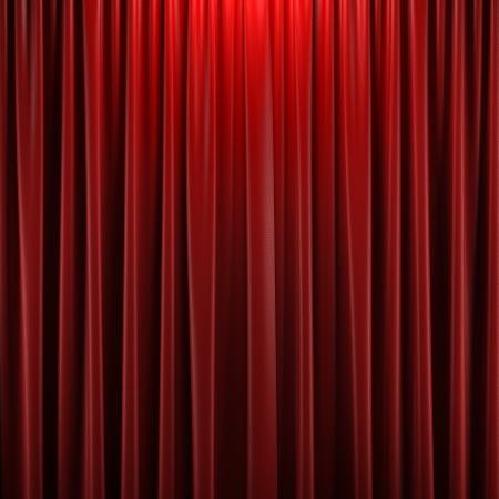sipario chiuso: Tenda rossa chiusa con punti luce in un teatro