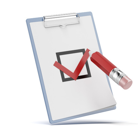 checklist with a detailed pencil isolated on a white background photo