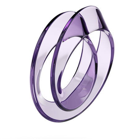glass mobius strip isolated on a white background photo