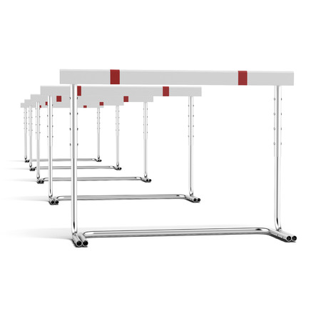 high way: a lot of hurdles isolated on a white background
