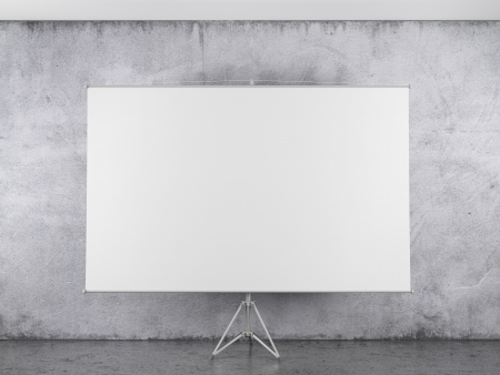Blank projector canvas in the interior photo