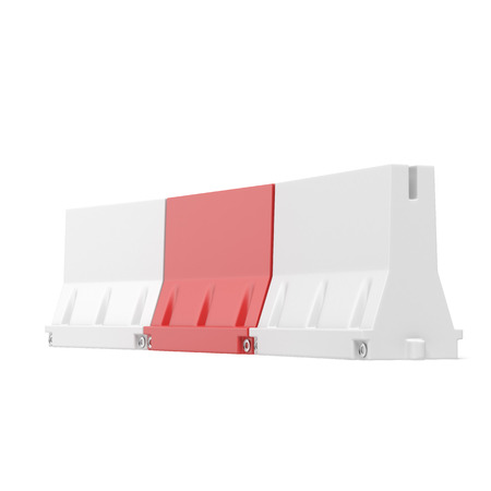 White and red road barriers  isolated on a white background photo