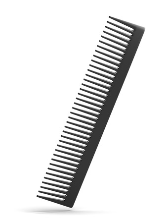 plastic comb: Black comb isolated on a white background Stock Photo