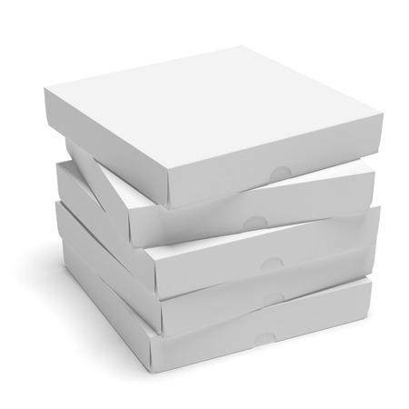 Blank cardboard boxes isolated on a white background photo
