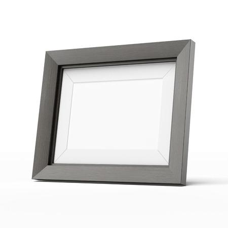 白い背景上に分離されて木製の写真フレーム