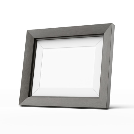 picture frame on wall: wooden picture frame  isolated on a white background Stock Photo