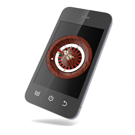 roulette online: Roulette in the phone  isolated on a white background Stock Photo