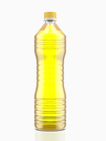 corn flower: Bottle of cooking oil  isolated on a white background