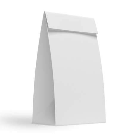 white paper bag isolated on a white background photo