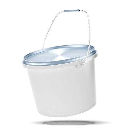White plastic bucket isolated on a white background photo
