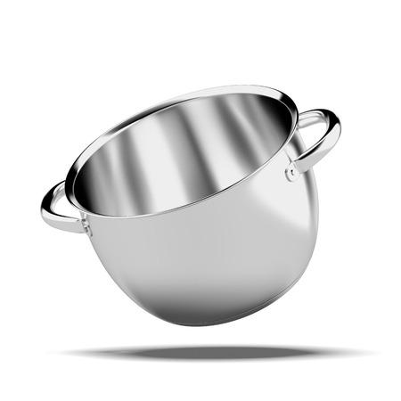 白い背景に分離されたオープン ステンレス鍋