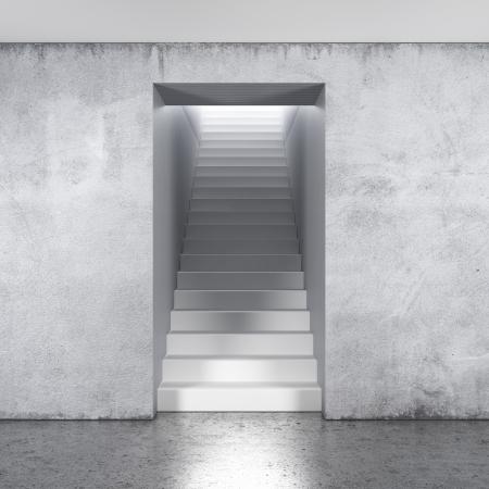 灰色の壁に階段の組成 写真素材
