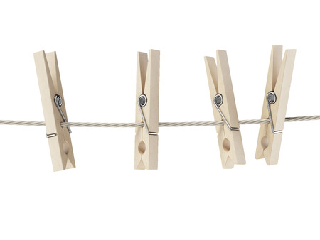 clothes peg: clothespins on rope  isolated on a white background Stock Photo