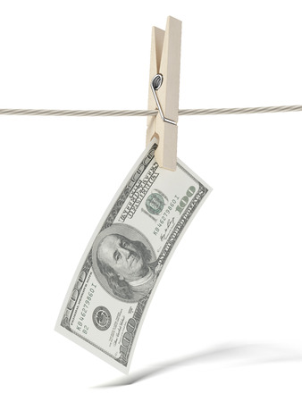 dollar on rope  isolated on a white background photo