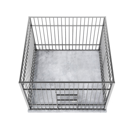 metal cage from the top isolated on a white background photo