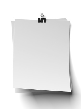 clamps:  clip and blank note papers isolated on a white background