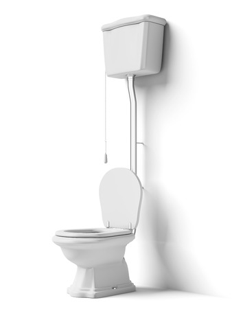Toilet bowl with flush tank isolated on a white background