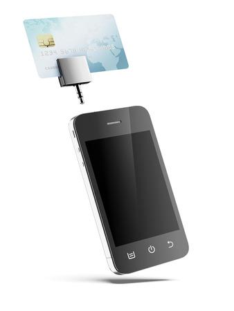 Mobiele telefoon met creditcard geïsoleerd op een witte achtergrond Stockfoto
