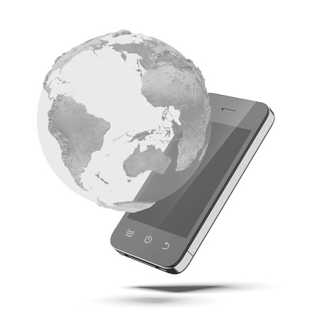 mobile phone and world globe isolated on a white background photo