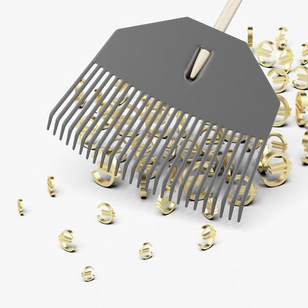 rake scooping up euro symbols isolated on a white background Stock Photo - 22402842