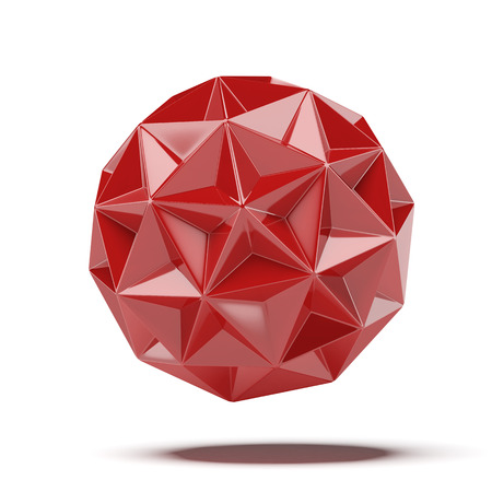 Abstract red geosphere isolated on a white background Stock Photo