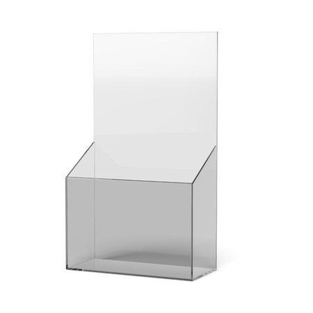 blank brochure holder  isolated on a white background Stock Photo
