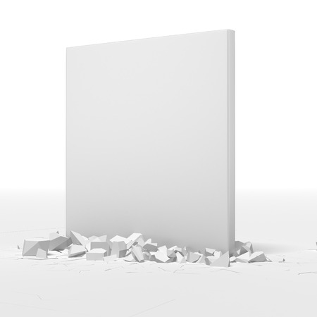 destroy: White block breaking floor isolated on a white background Stock Photo